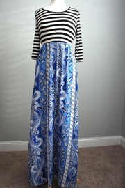 Flamingo Stripes-Boho Maxi-Dress - Front cropped