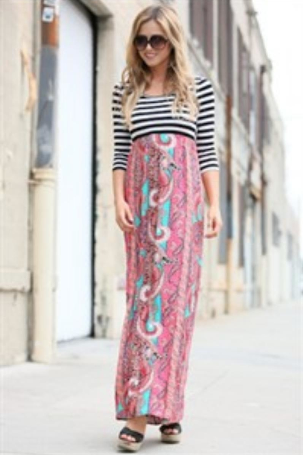 Flamingo Stripes-Boho Maxi-Dress - Back Cropped Image
