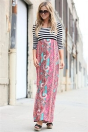 Flamingo Stripes-Boho Maxi-Dress - Back cropped