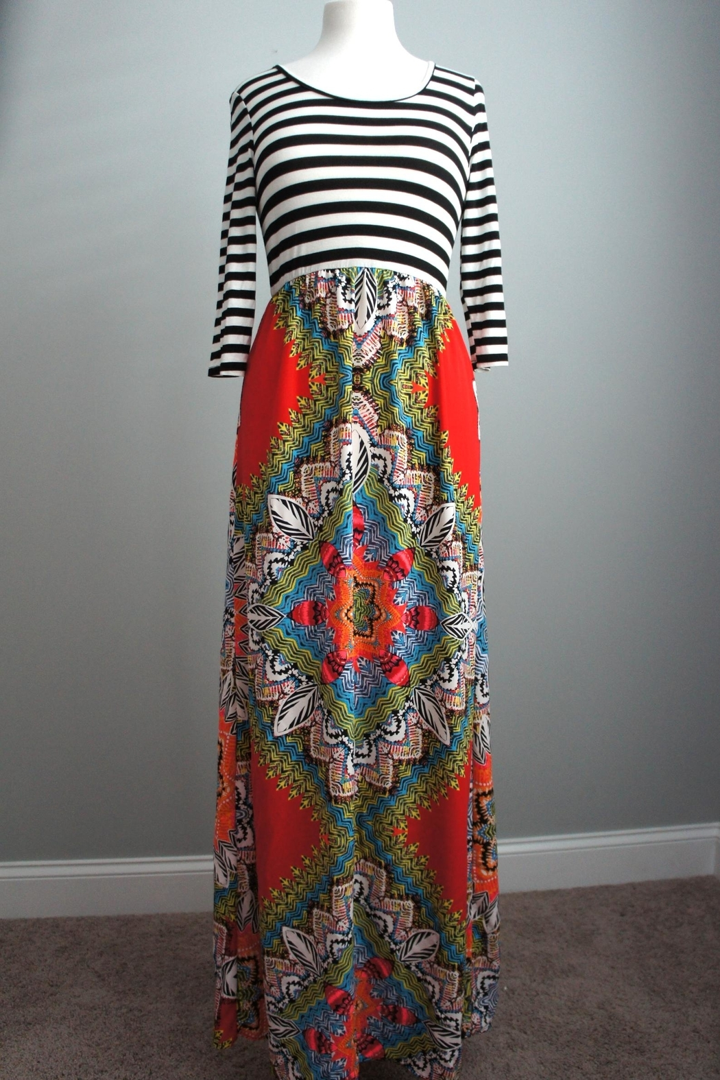 Flamingo Stripes-Boho Maxi-Dress - Main Image