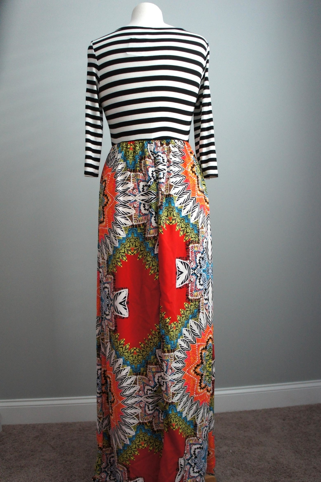 Flamingo Stripes-Boho Maxi-Dress - Side Cropped Image