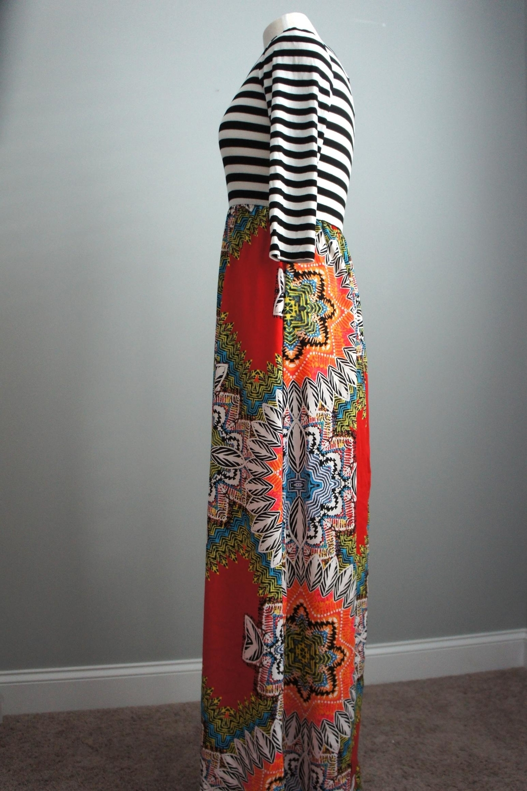 Flamingo Stripes-Boho Maxi-Dress - Front Full Image