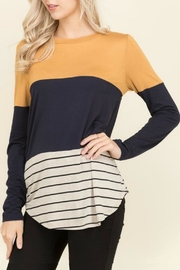Flamingo Tabby Mustard Top - Front cropped