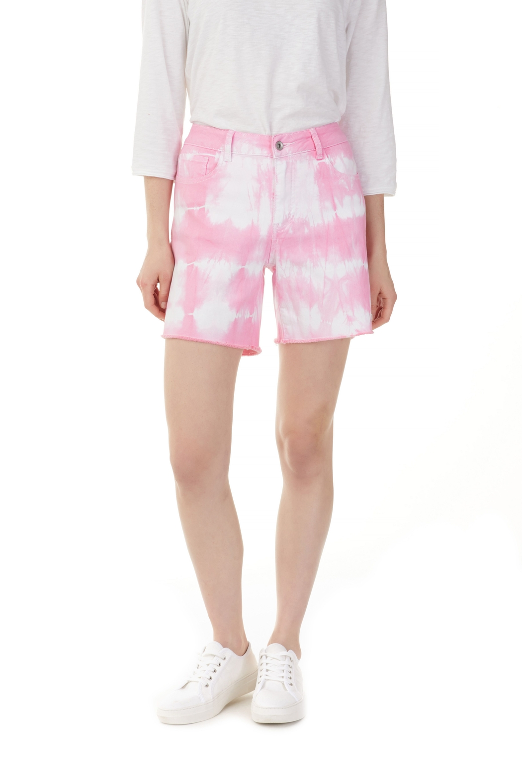 Charlie B. Flamingo Tie Dye Jean Shorts - Front Cropped Image