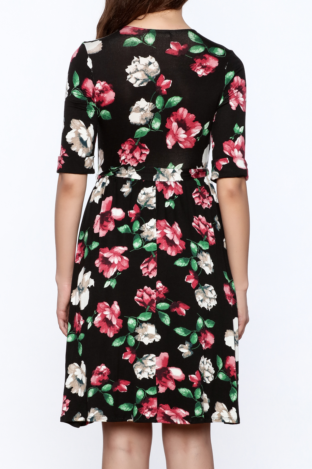 Flamingo Urban Black Floral Wrap Dress - Back Cropped Image