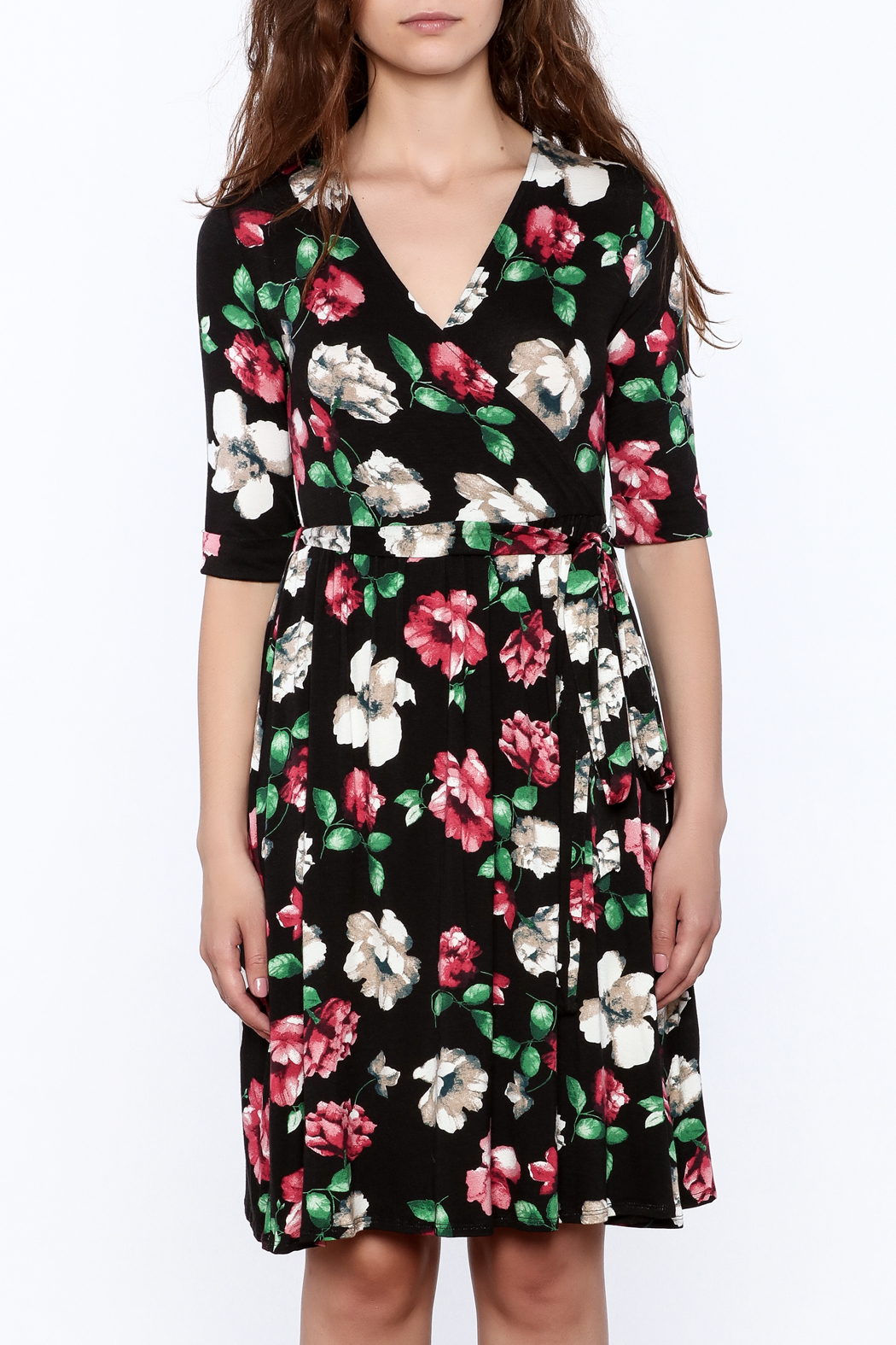 Flamingo Urban Black Floral Wrap Dress - Side Cropped Image