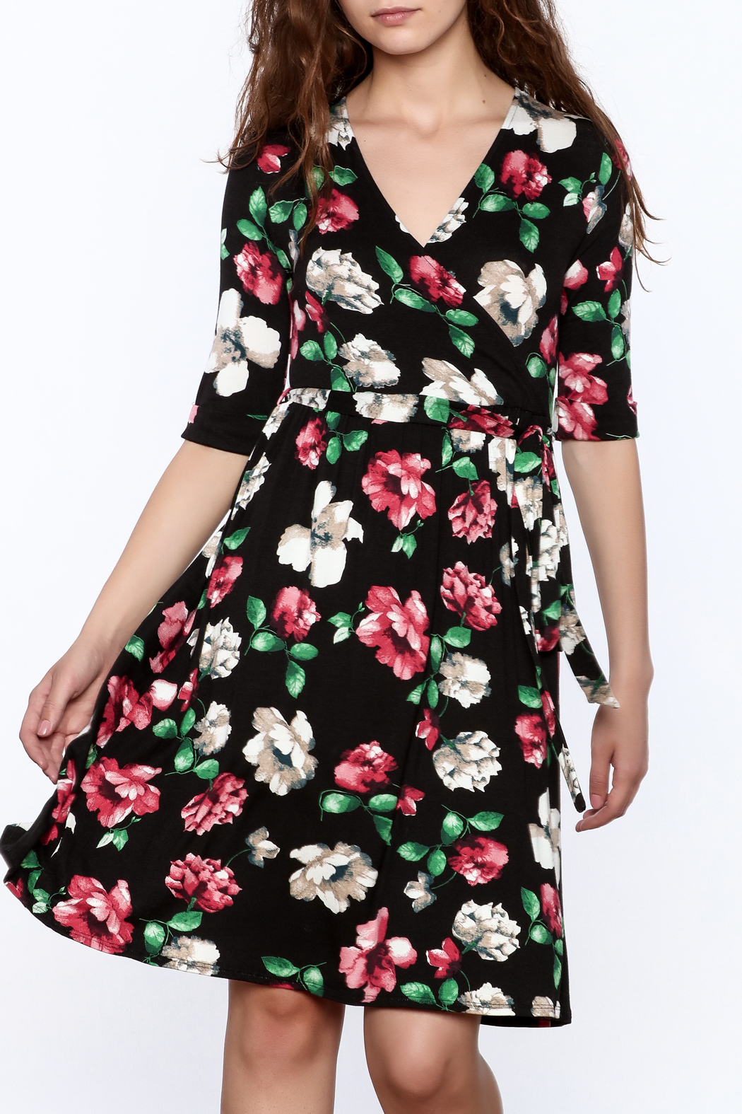 Flamingo Urban Black Floral Wrap Dress - Main Image