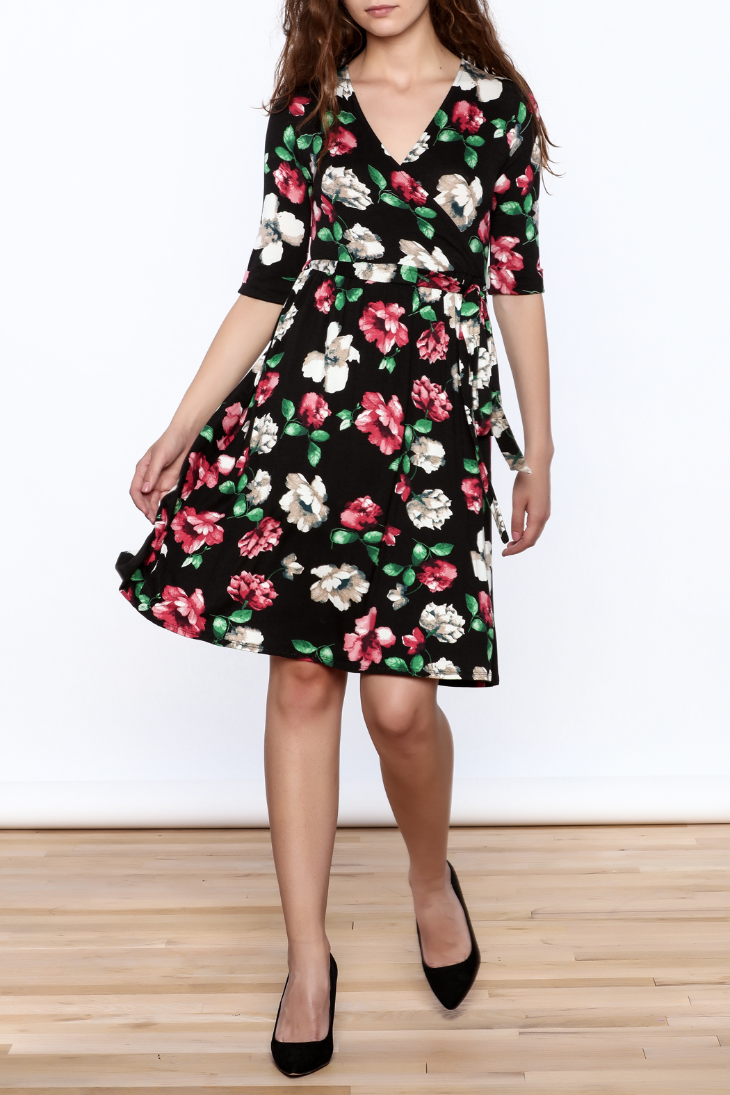 Flamingo Urban Black Floral Wrap Dress - Front Full Image