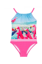 Deux Par Deux Flamingos Printed One-Piece Swimsuit - Front cropped