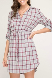 She + Sky Flannel Dress - Front cropped