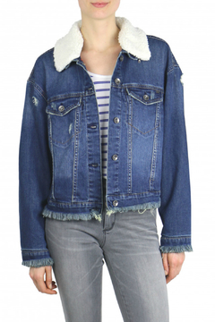 Tractr Flannel lined Jean Jacket w Leopard Collar - Product List Image