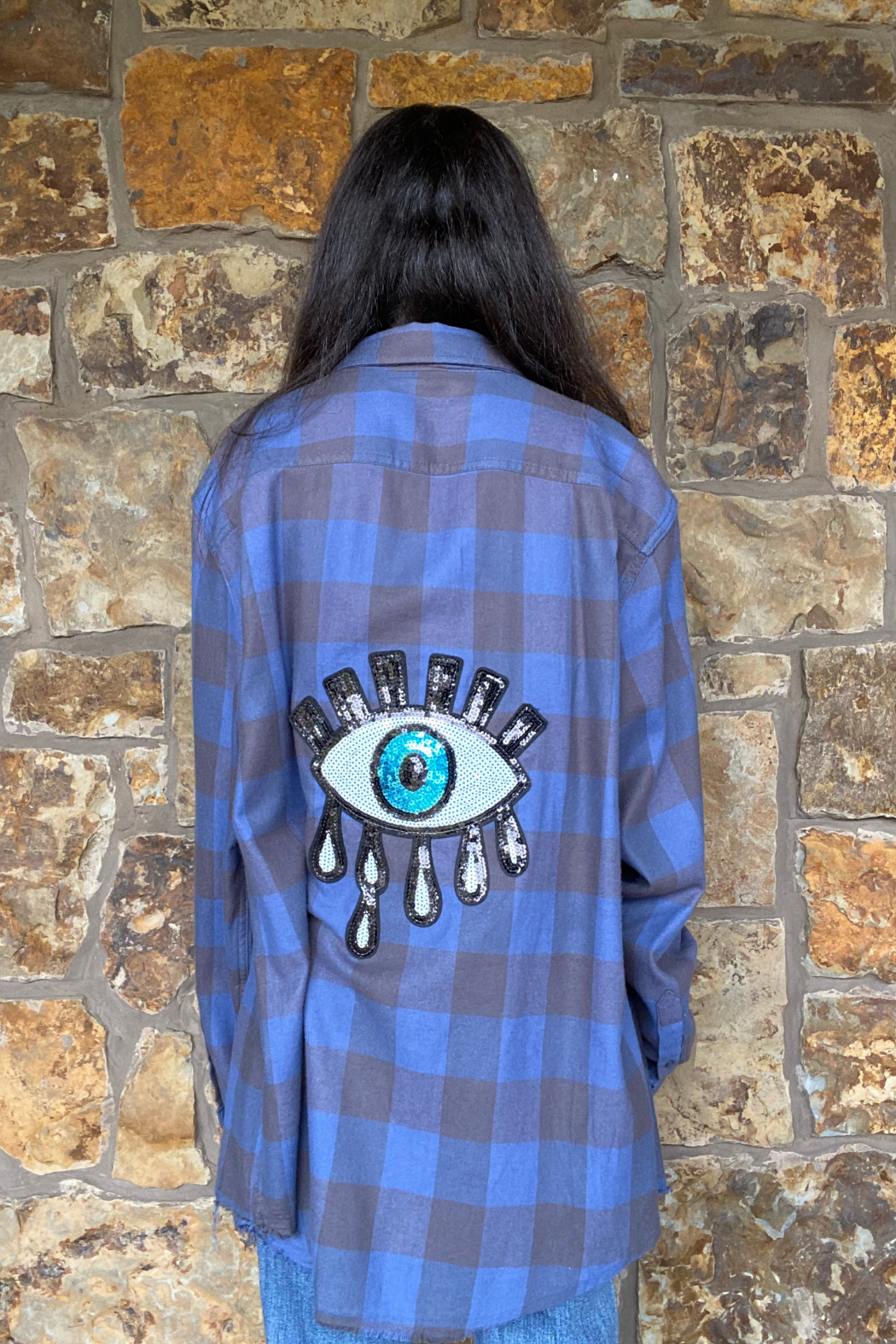 LuLuLisa Flannel shirt w sequin evil eye - Front Cropped Image