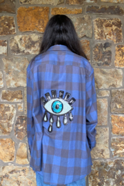 LuLuLisa Flannel shirt w sequin evil eye - Front cropped