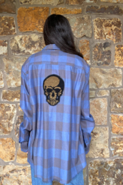 LuLuLisa Flannel Shirt w Sequin Skull - Front cropped