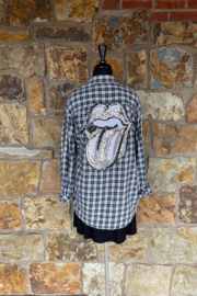 Soulstice Flannel Shirt w Stones Lip embellishment - Front cropped