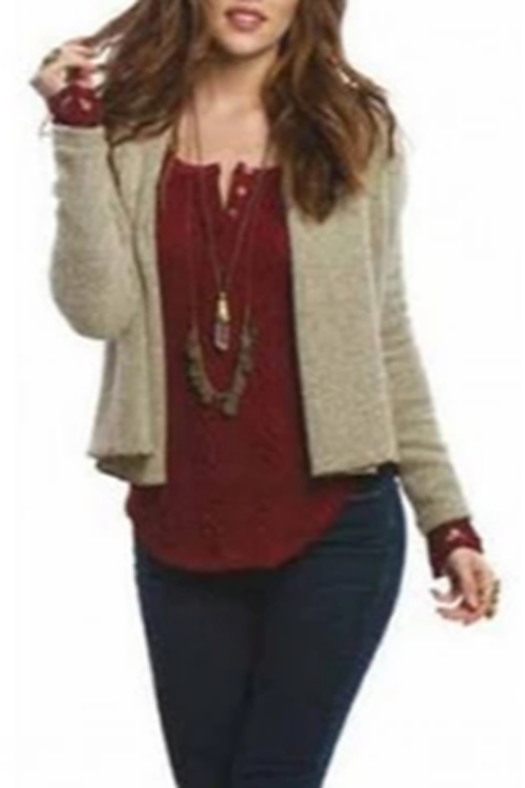 AnM Flannel Sweater Cardigan - Side Cropped Image