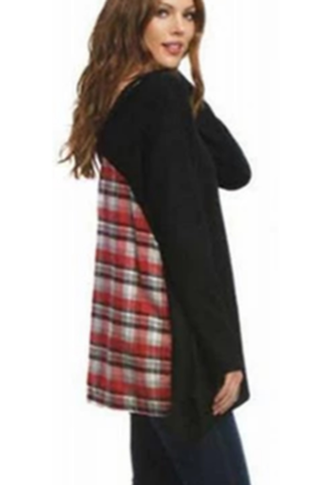 AnM Flannel V-Back Terry Pullover Sweater - Front Cropped Image
