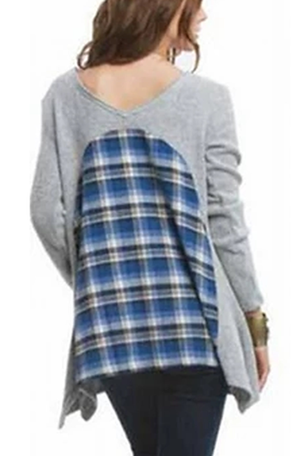 AnM Flannel V-Back Terry Pullover Sweater - Front Full Image