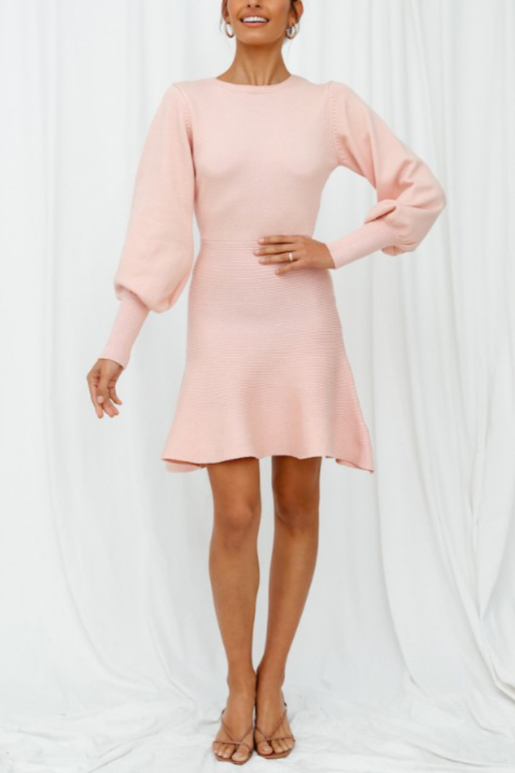 ONE AND ONLY COLLECTIVE Flare Bottom Sweater Dress - Side Cropped Image