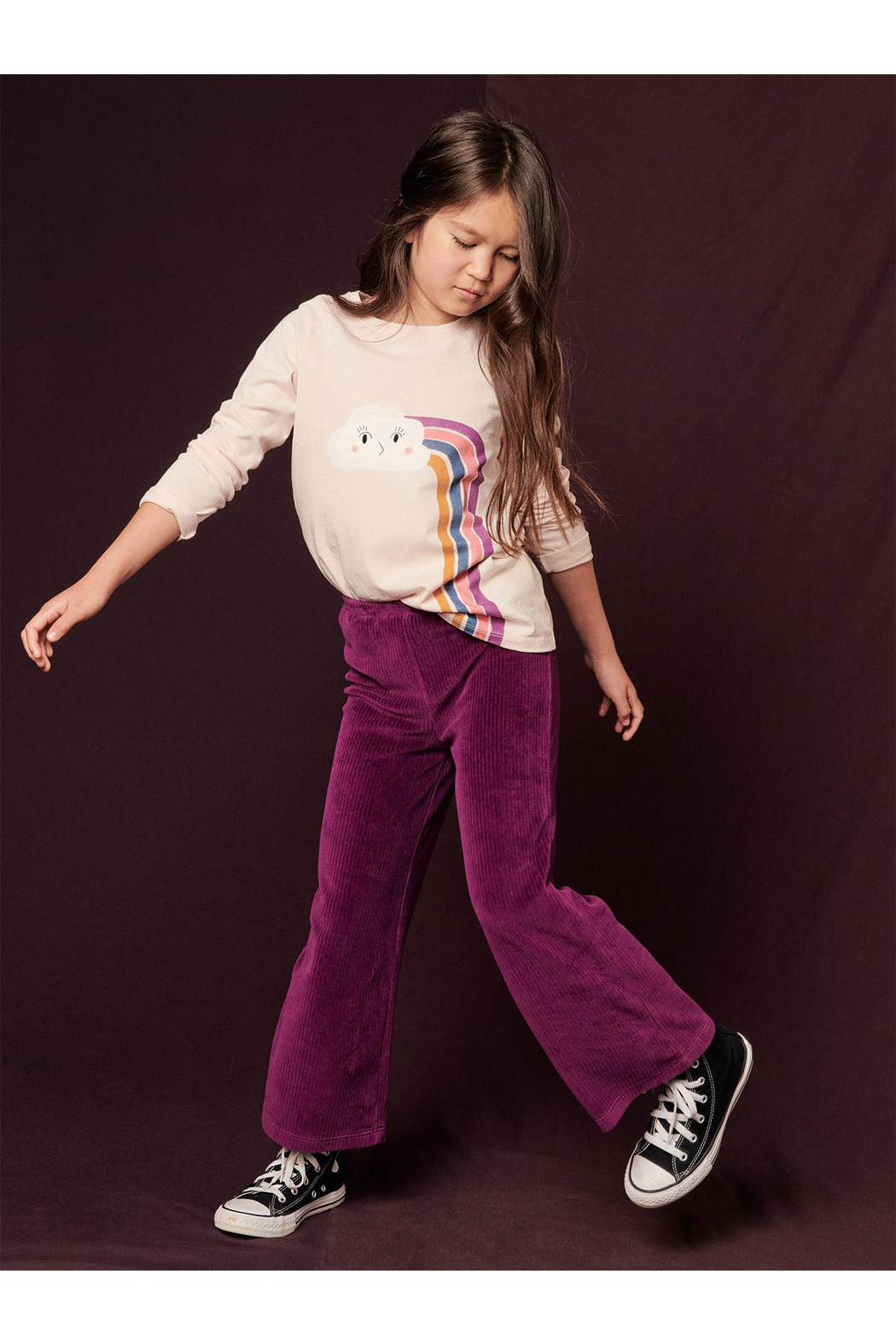 Tea Collection  Flare For Fun Stretch Pants - Cosmic Berry - Front Full Image