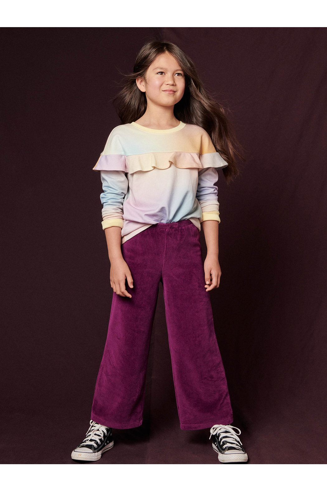 Tea Collection  Flare For Fun Stretch Pants - Cosmic Berry - Back Cropped Image