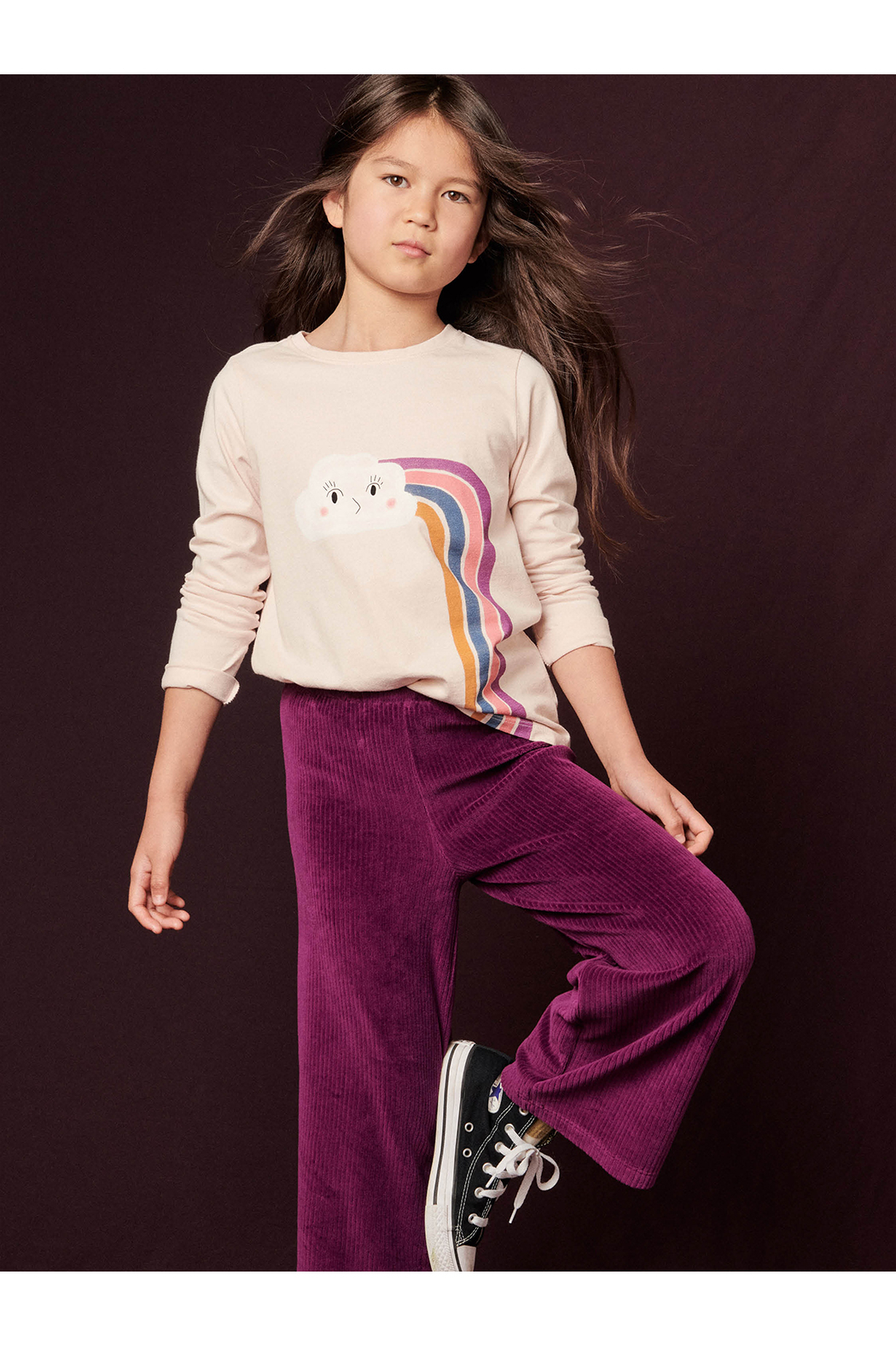 Tea Collection  Flare For Fun Stretch Pants - Cosmic Berry - Side Cropped Image