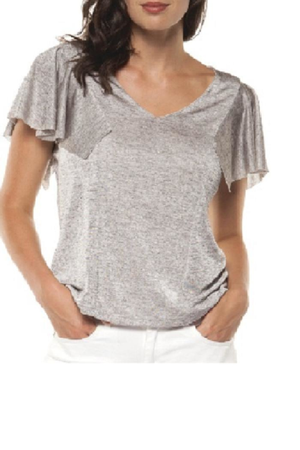 Dex/Black Tape Flare Sleeve Top - Front Full Image