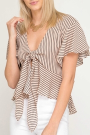 She + Sky Tie Front Top - Front cropped