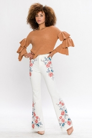 Flying Tomato Flared Floral Trousers - Product Mini Image