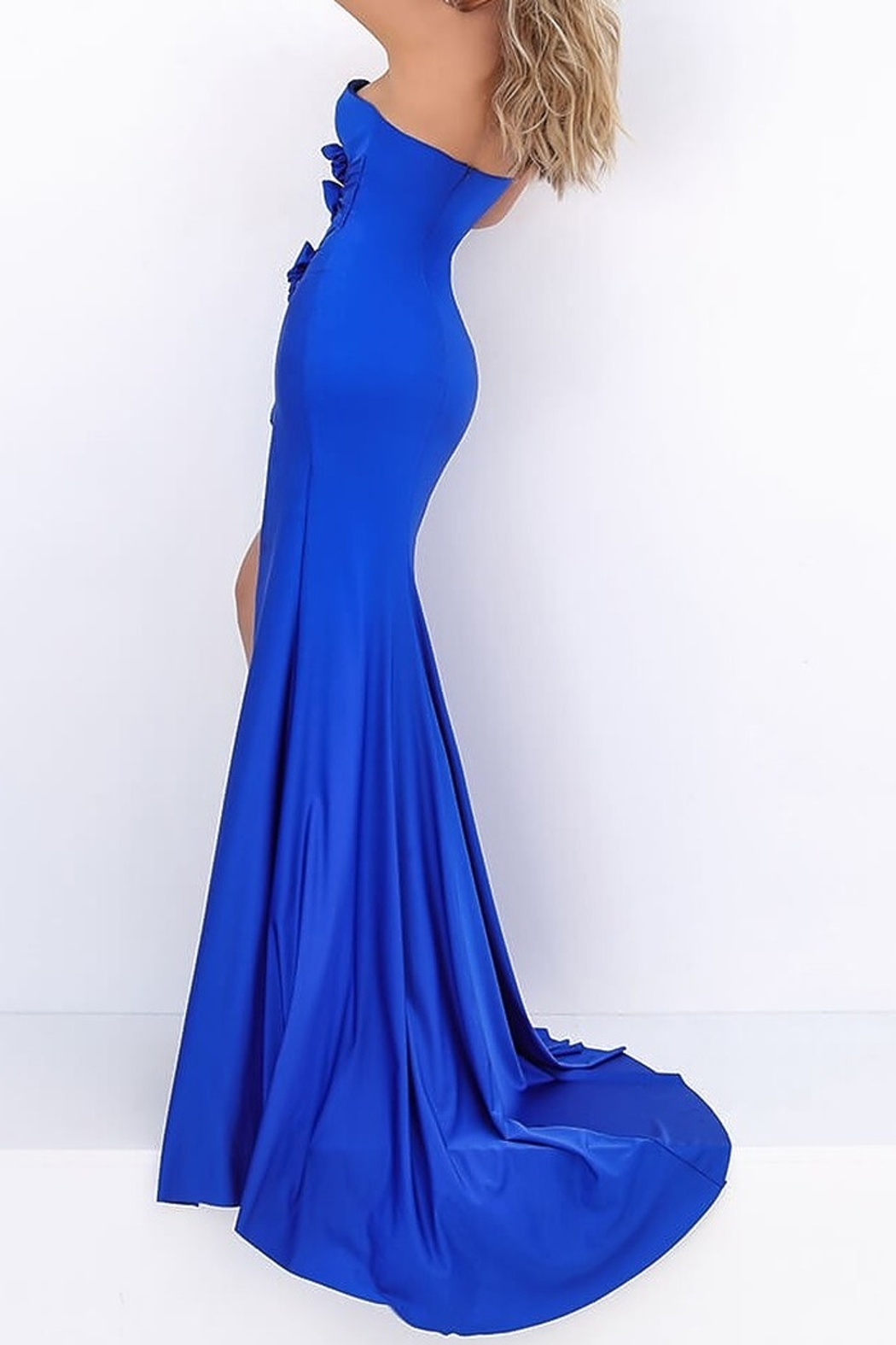 Tarik Ediz Flash Strapless Cutout Gown - Back Cropped Image