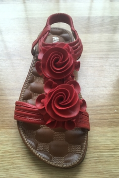 Spring Step  flat red floral sandal - Alternate List Image