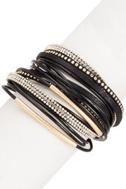 Saachi Flaunt Double Wrap Leather Bracelet - Front full body