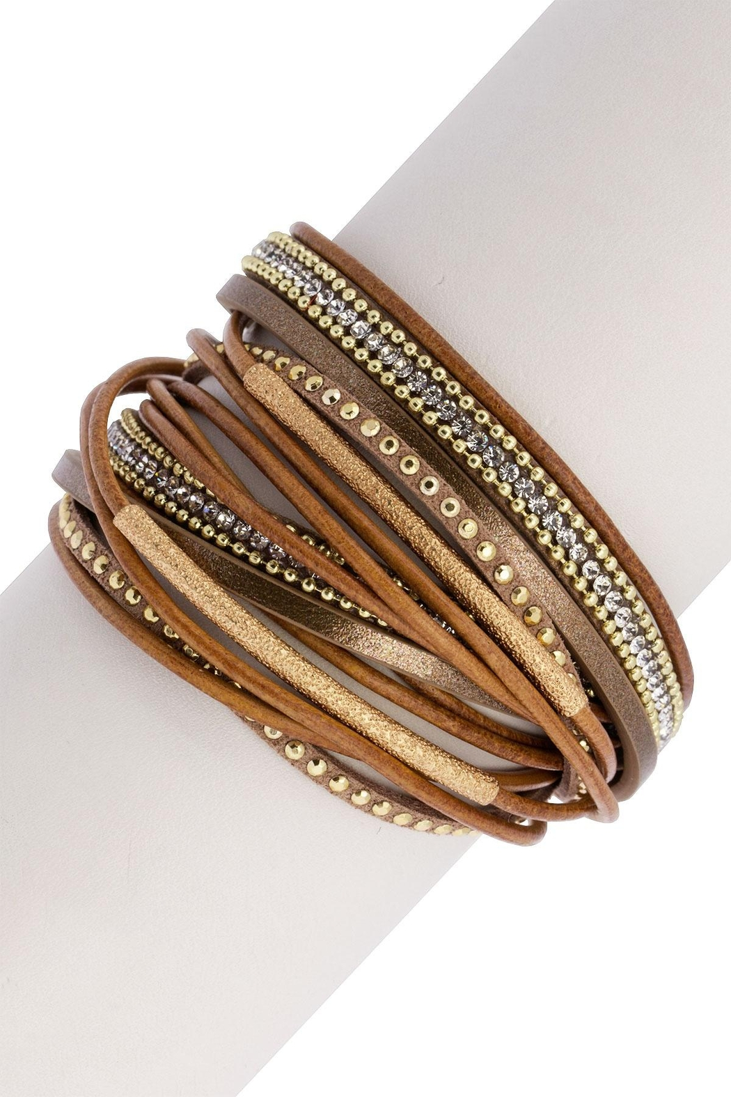 Saachi Flaunt Double Wrap Leather Bracelet - Front Full Image