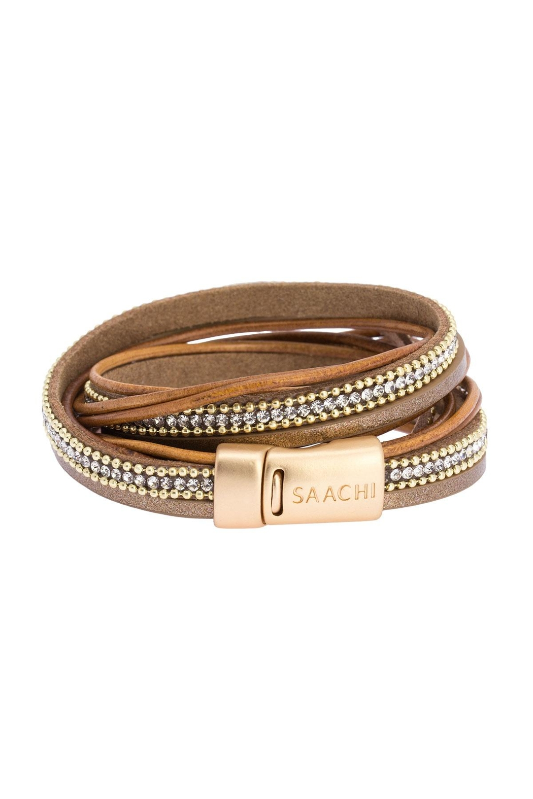 Saachi Flaunt Double Wrap Leather Bracelet - Back Cropped Image