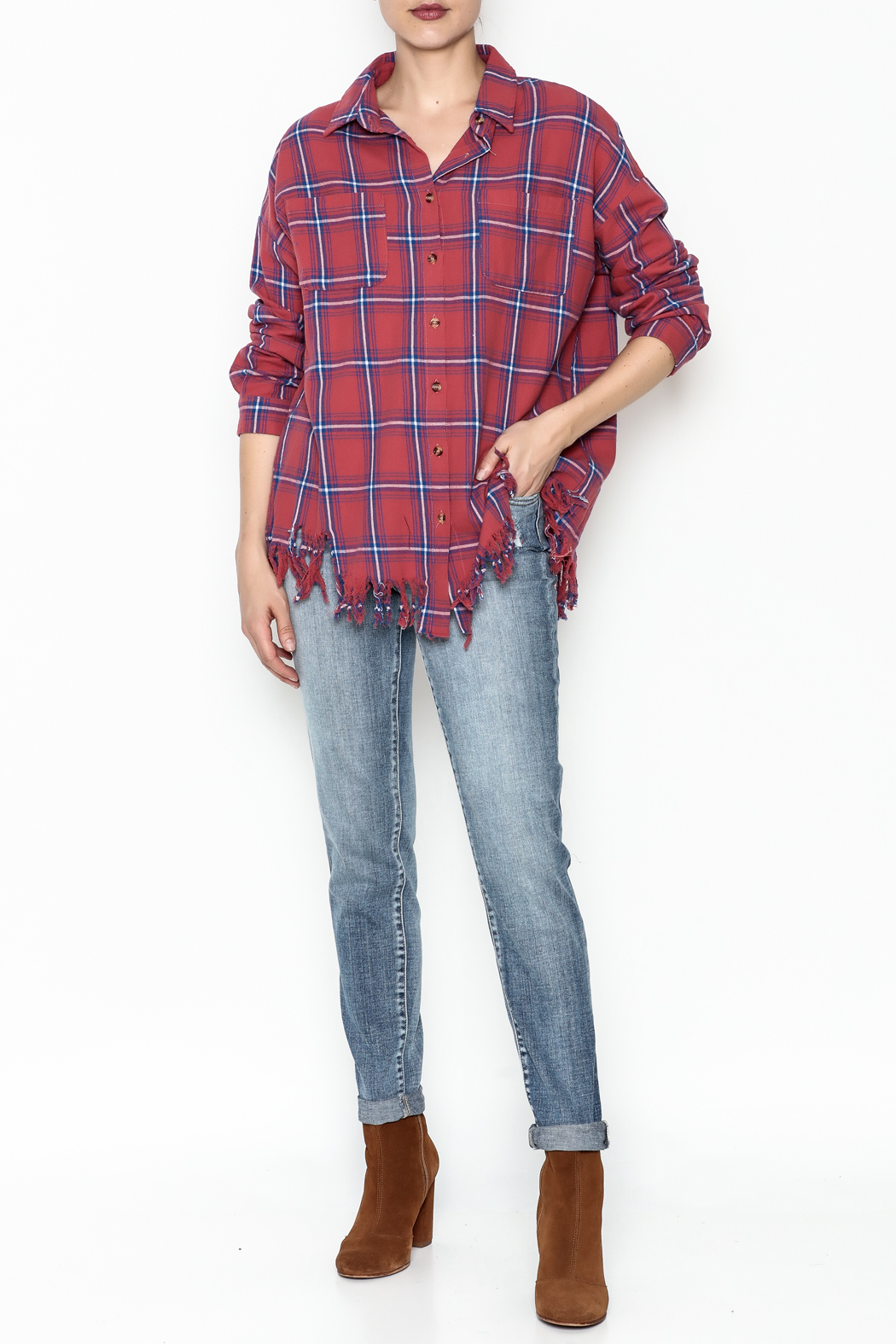 Flawless Distressed Plaid Shirt - Side Cropped Image