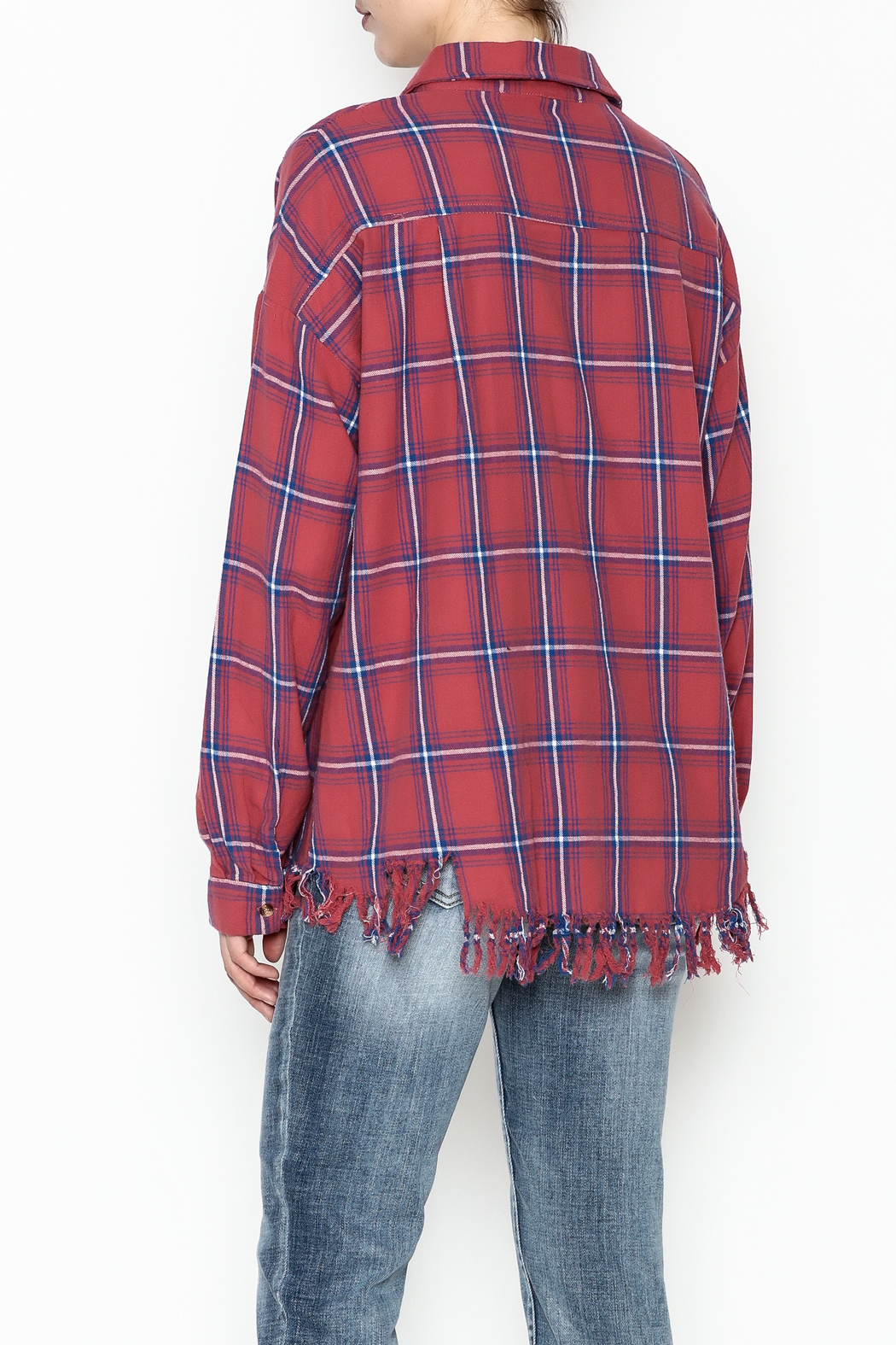Flawless Distressed Plaid Shirt - Back Cropped Image