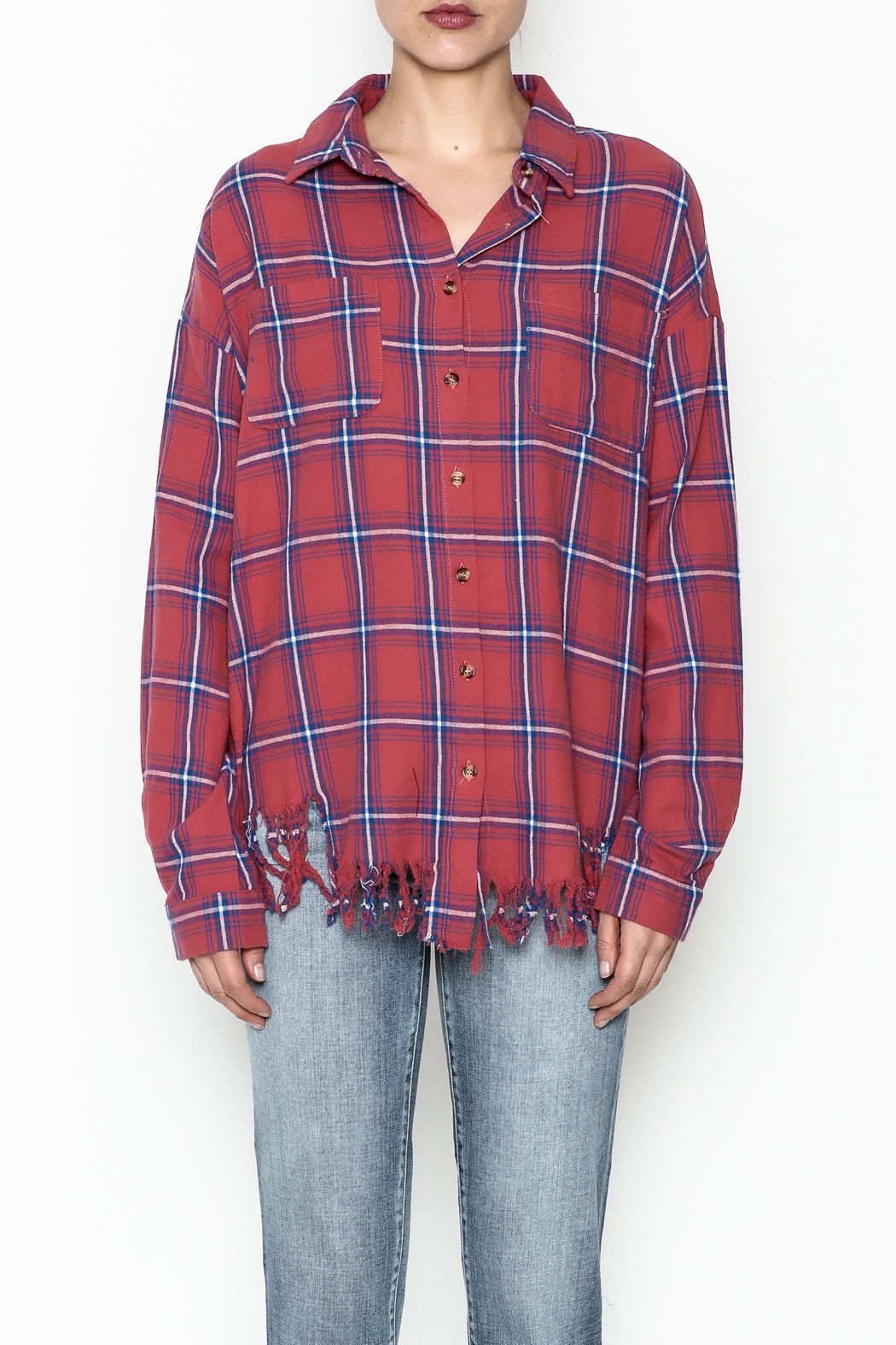 Flawless Distressed Plaid Shirt - Front Full Image