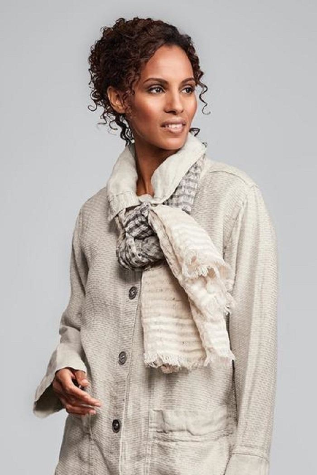 Flax Ombre Linen Scarf - Main Image