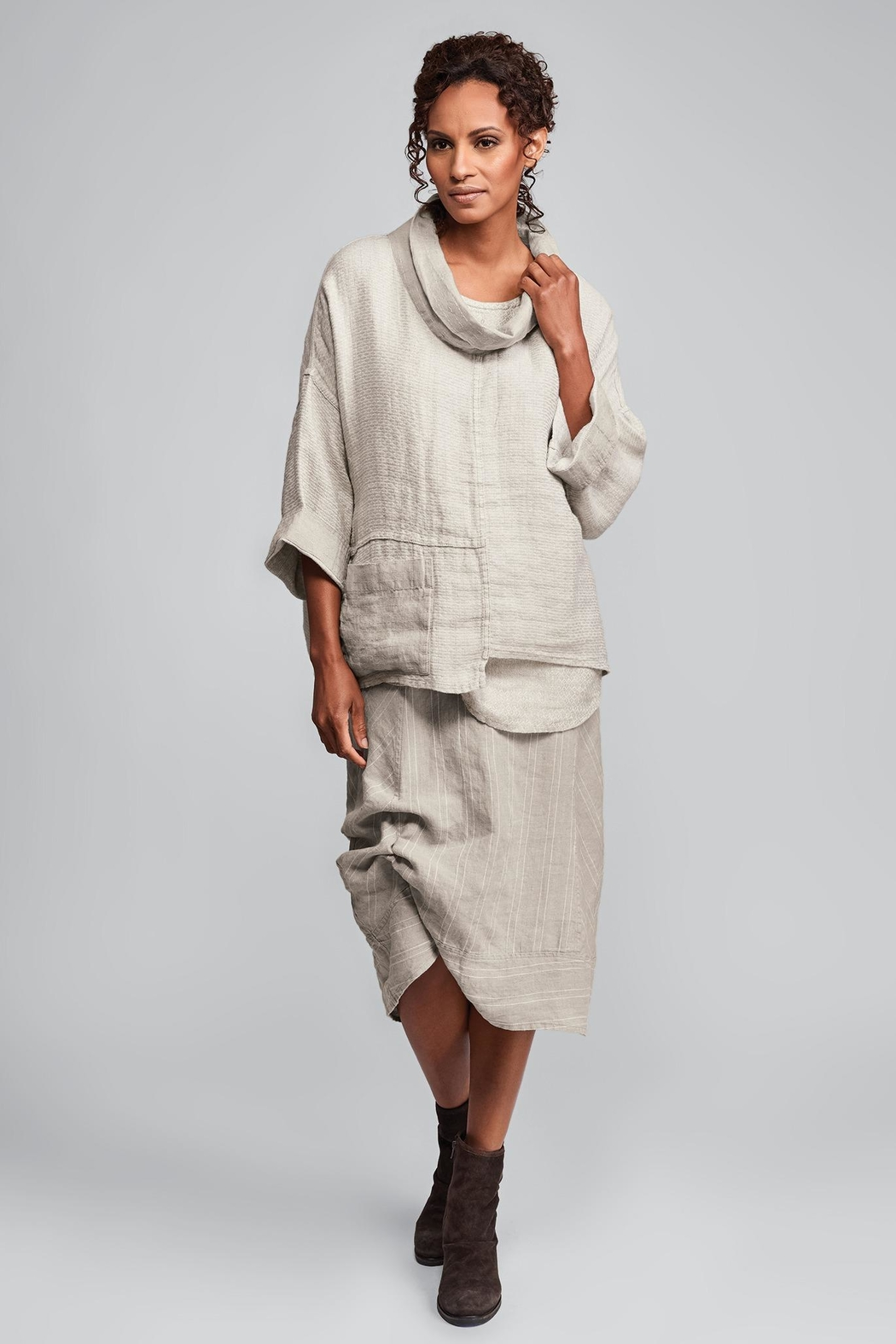 Flax Stripe Linen Skirt - Main Image