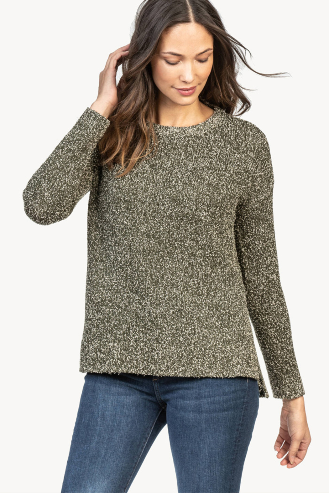 Lilla P Flecked Cotton Blend Pullover Sweater - Main Image