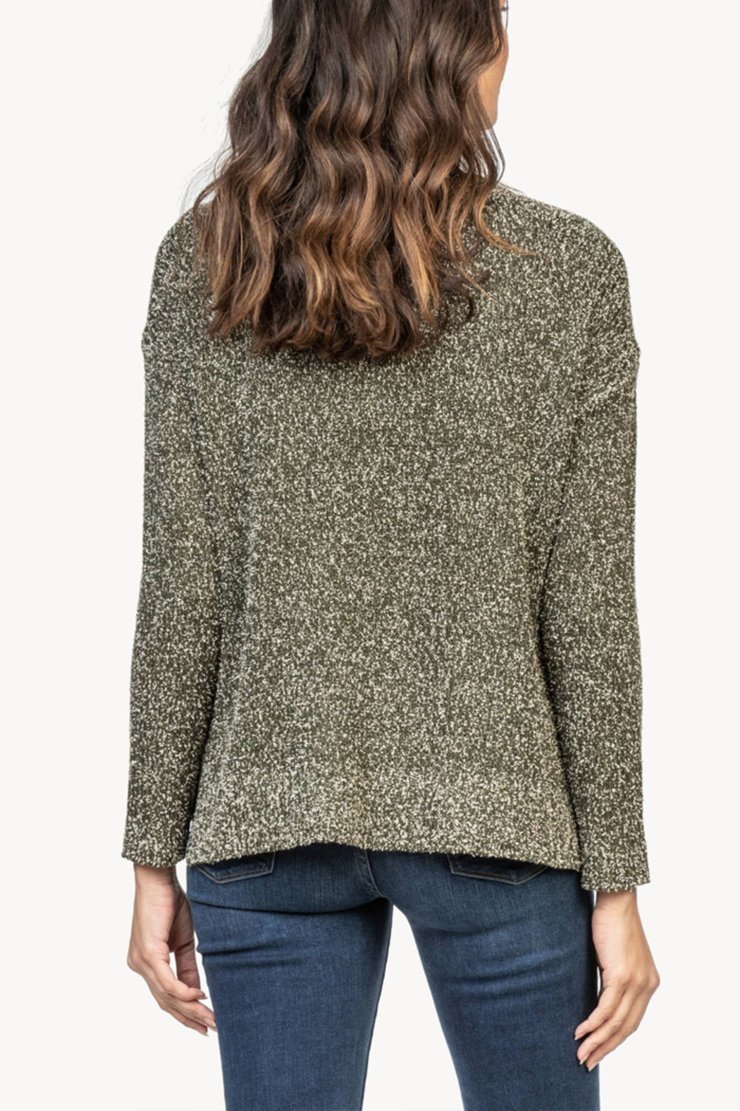 Lilla P Flecked Cotton Blend Pullover Sweater - Front Full Image
