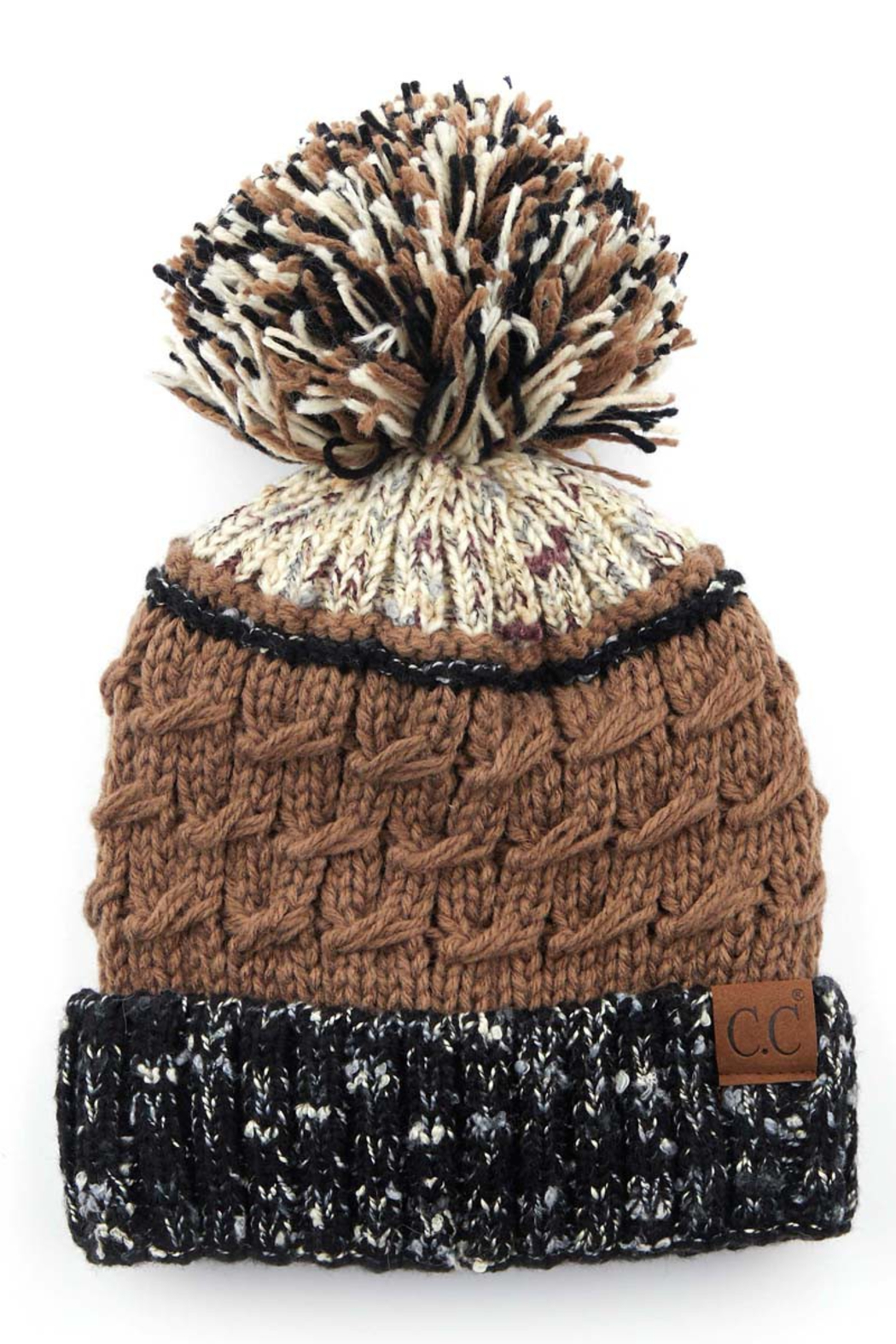 CC Beanie Flecked Pom Beanine - Front Cropped Image
