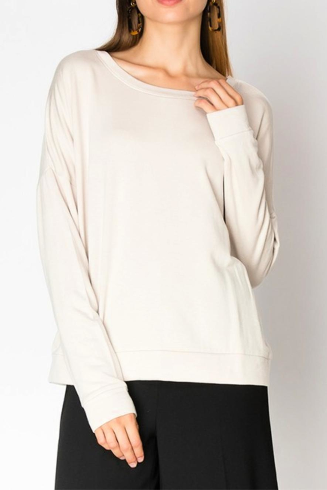 Miss Darlin Fleece Boatneck Sweatshirt - Front Cropped Image