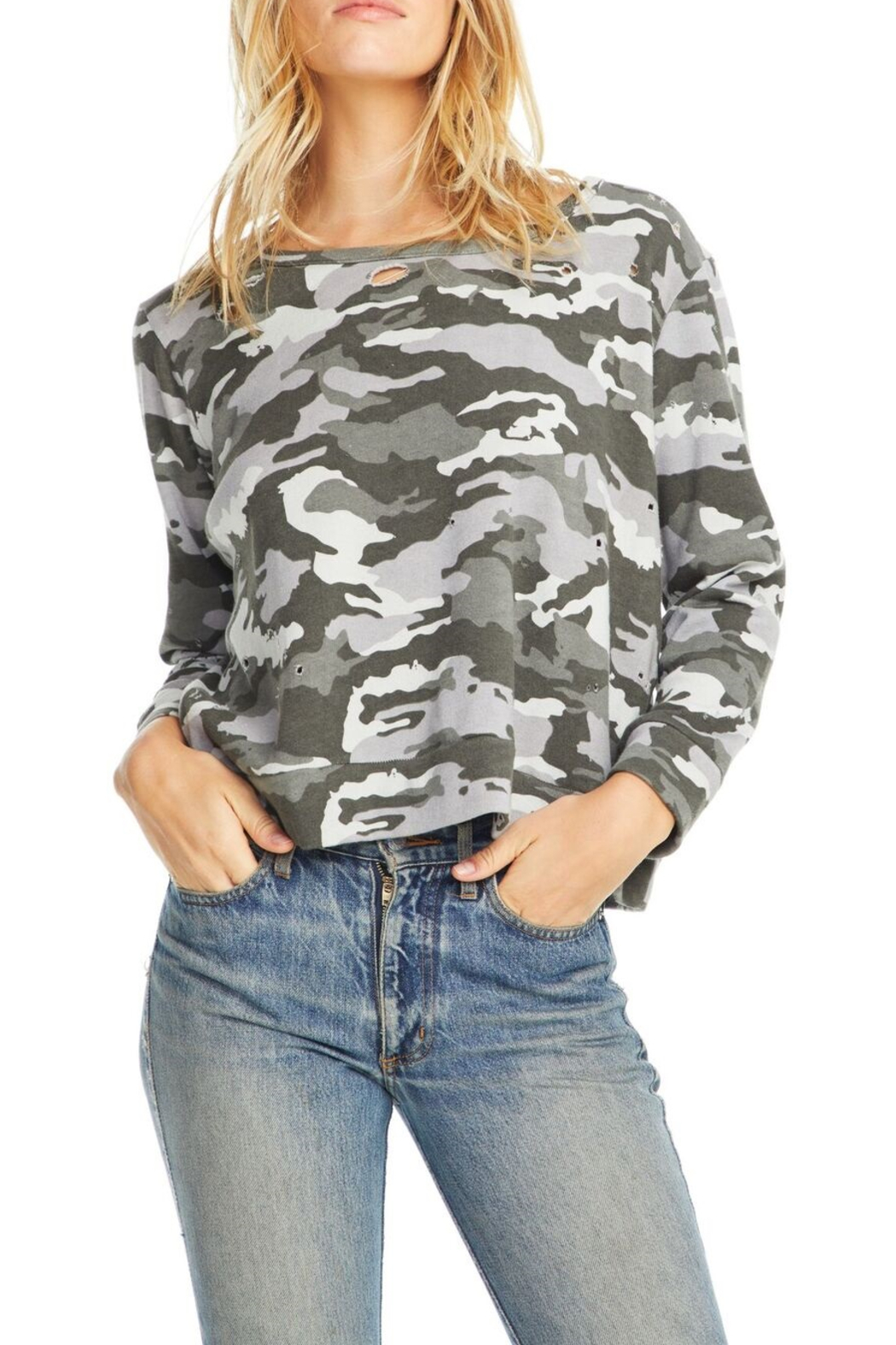 Chaser Fleece Camo Pullover - Front Cropped Image