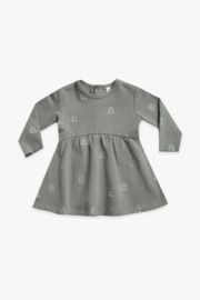 Quincy Mae Fleece Dress in Eucalyptus Tree Print - Product Mini Image