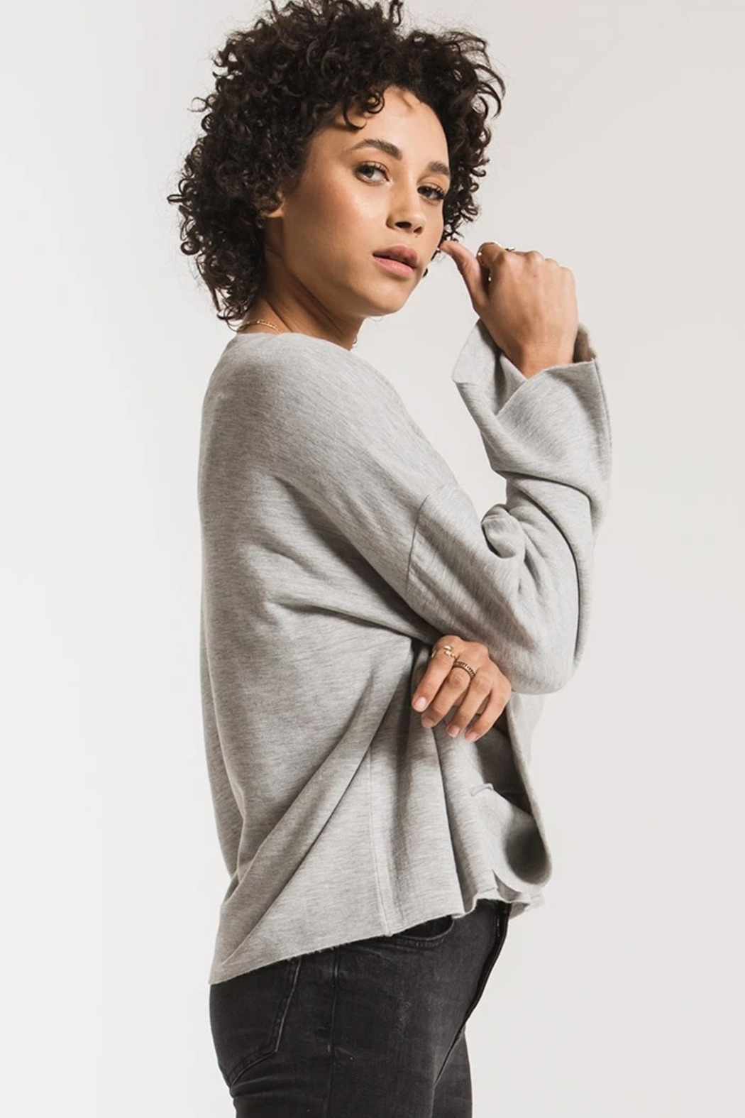 z supply Fleece Flare Sleeve Pullover - Front Full Image