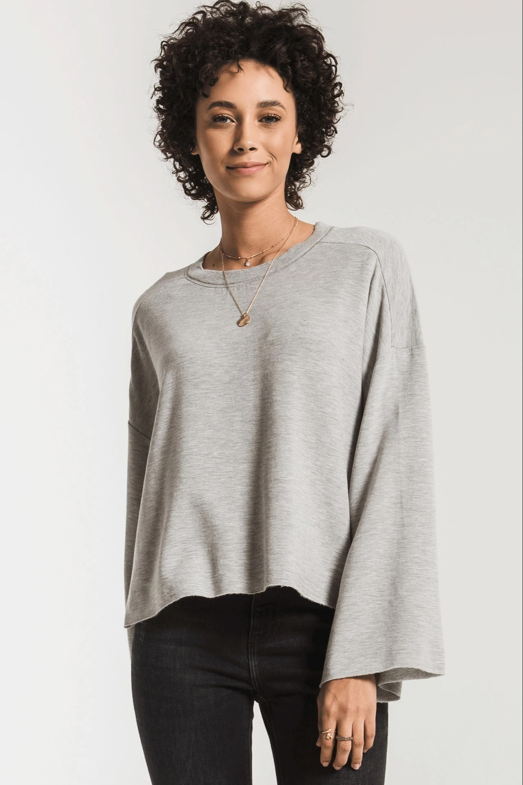 z supply Fleece Flare Sleeve Pullover - Main Image