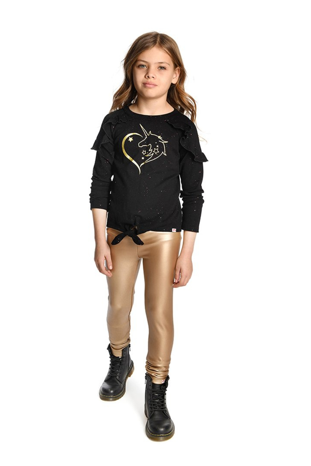 Appaman Fleece Lined Gold Legging - Front Cropped Image