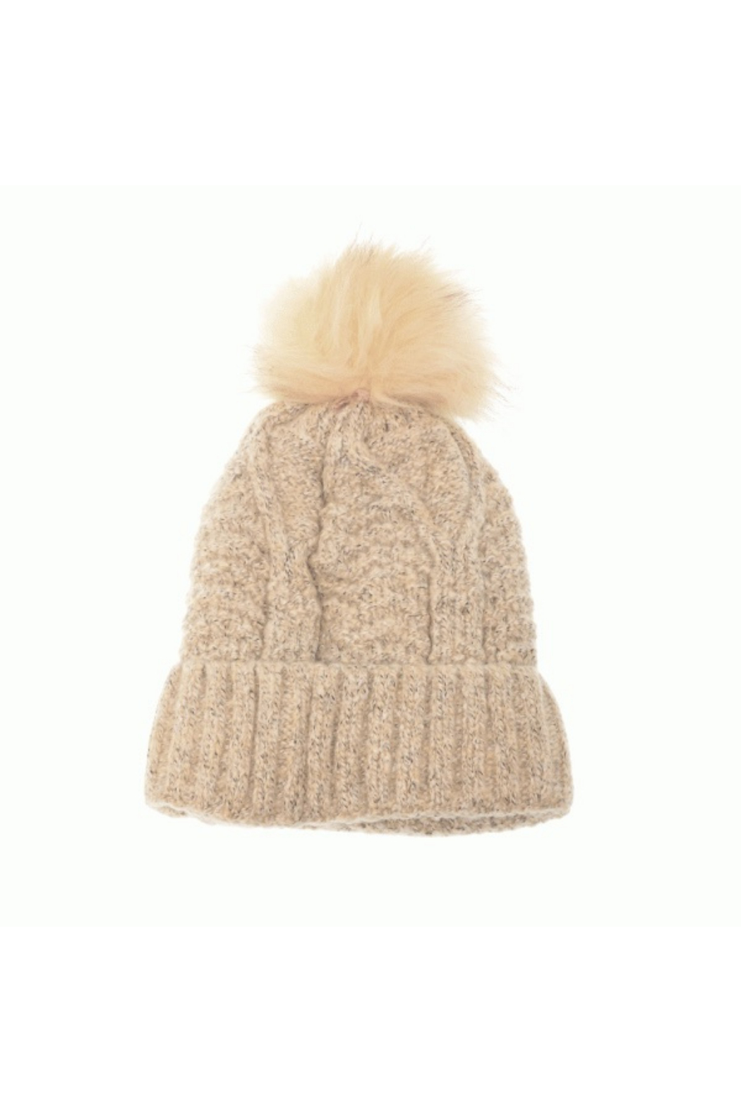 Joy Accessories Fleece Lined Knit Mix Pom Pom Hat - Front Cropped Image
