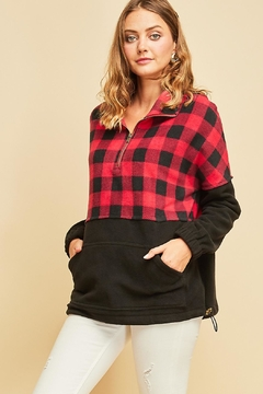 Entro Fleece Plaid Pullover - Product List Image